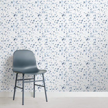 Blue Marbled Terrazzo Repeat Pattern Wallpaper Image