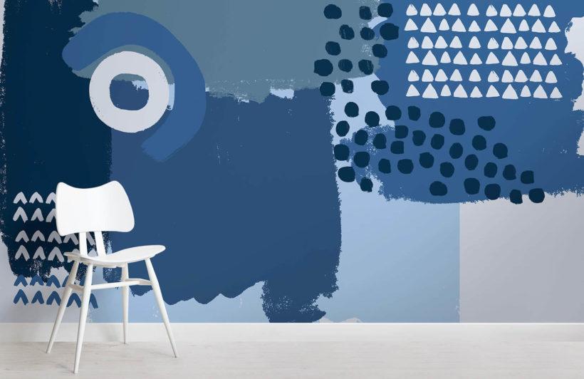 blue mark making room wall mural