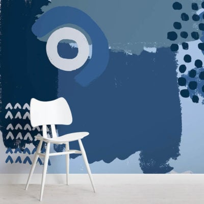 blue mark making square-wall-mural