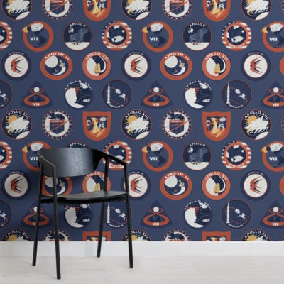 blue nasa badges space themed pattern wallpaper mural
