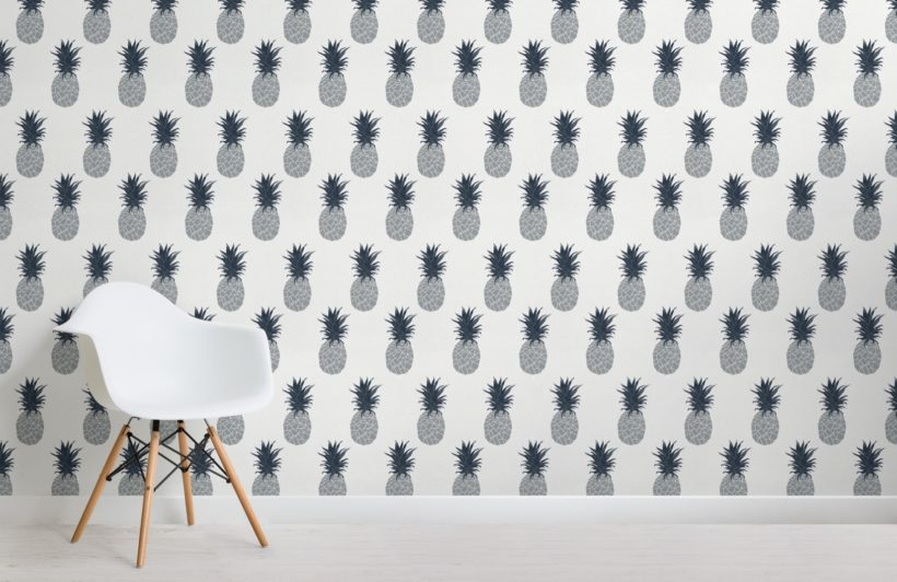 blue pineapple pattern wallpaper mural