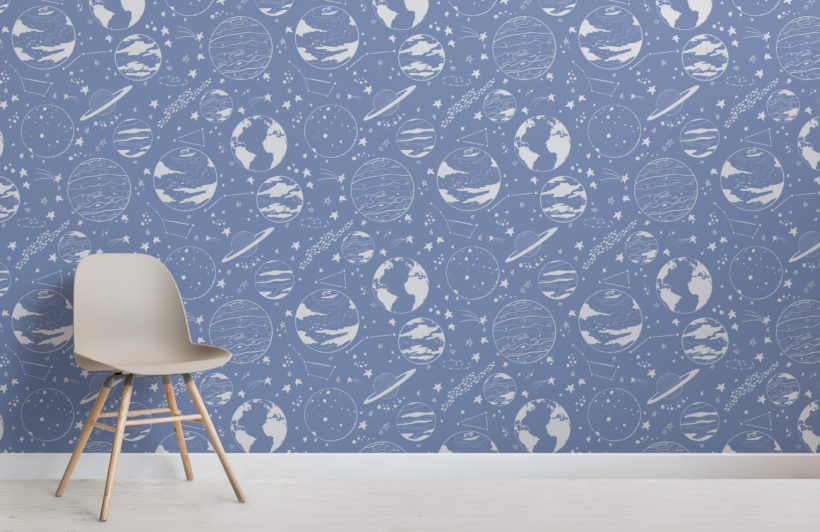 blue planets and stars illustrated pattern wallpaper mural