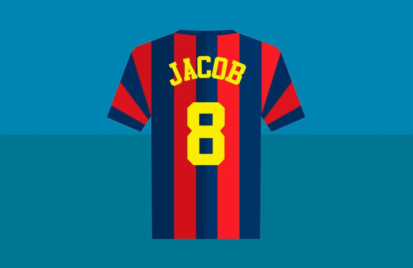 blue-red-striped-personalised-football-shirt-wallpaper-mural-Plain