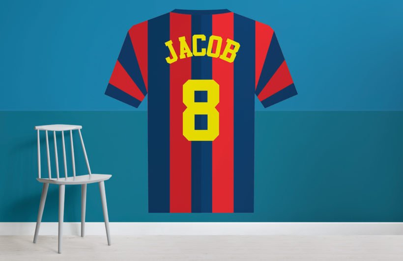 blue-red-striped-personalised-football-shirt-wallpaper-mural-Room