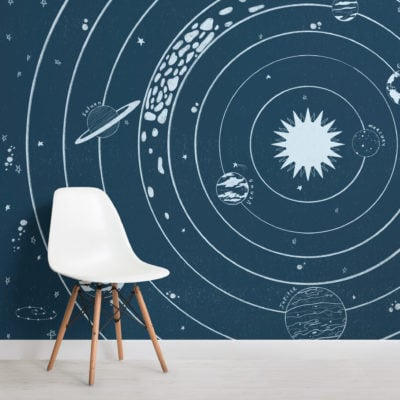 blue stars and planets solar system wallpaper mural