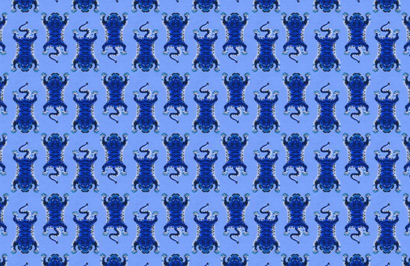 blue tibetan tiger pattern wallpaper mural