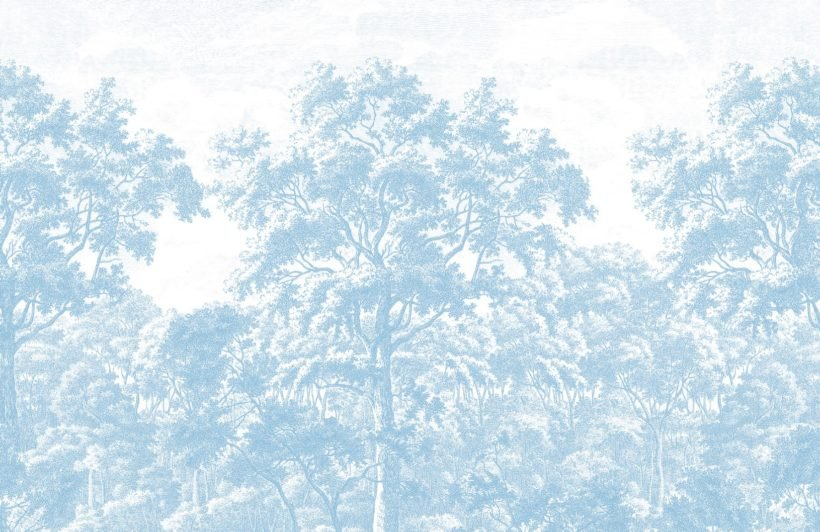 blue tree forest etching wallpaper mural