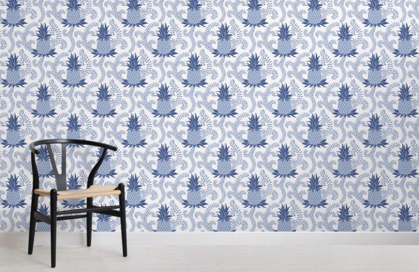 blue vintage pineapple pattern wallpaper mural
