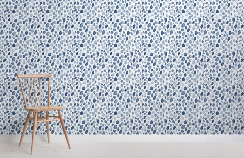 blue watercolor paint spot pattern wallpaper mural