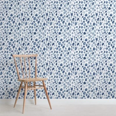 blue watercolor paint spot pattern wallpaper mural