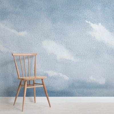 blue watercolour cloud and sky wallpaper mural