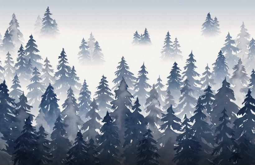 blue watercolour forest tree silhouette wallpaper mural