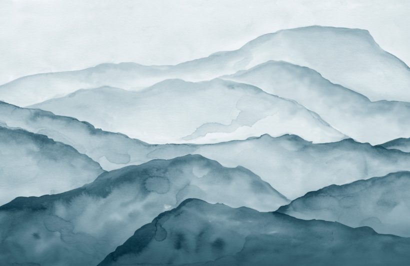 blue watercolour peaceful mountain wallpaper mural