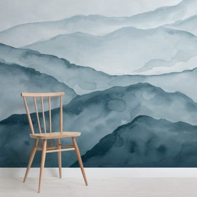blue watercolour peaceful mountain wallpaper mural
