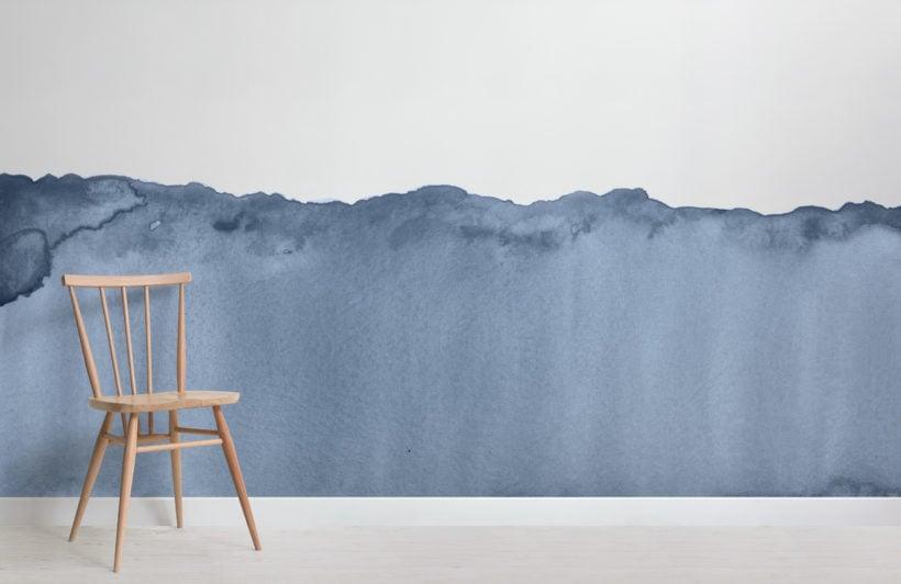 blue wave watercolour wallpaper mural-Room
