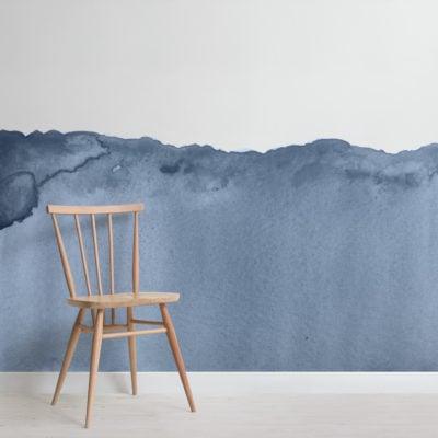 blue wave watercolour wallpaper mural-Square
