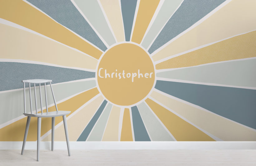 blue & yellow sun custom name kids wallpaper mural