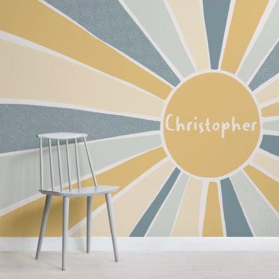 blue & yellow sun custom name kids wallpaper mural