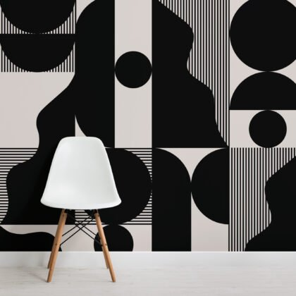 Bold Black and Beige Abstract Geometric Wallpaper Mural Image