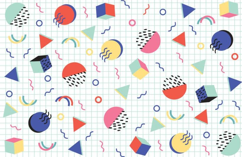 colourful-modern-shapes-memphis-plain-wall-mural