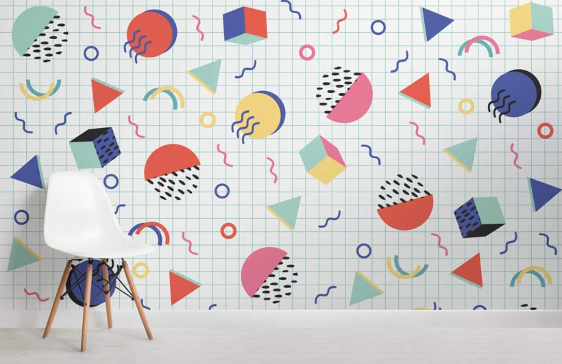 colourful-modern-shapes-memphis-room-wall-mural