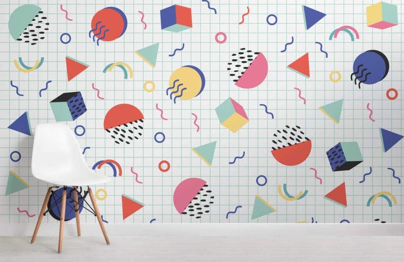 colourful-modern-shapes-memphis-room-wall-mural