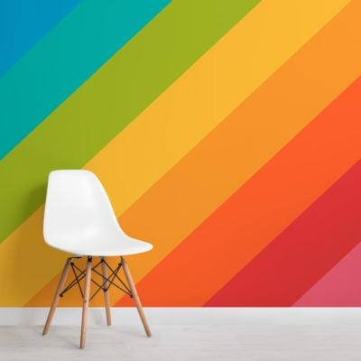 bold rainbow stripes wallpaper mural