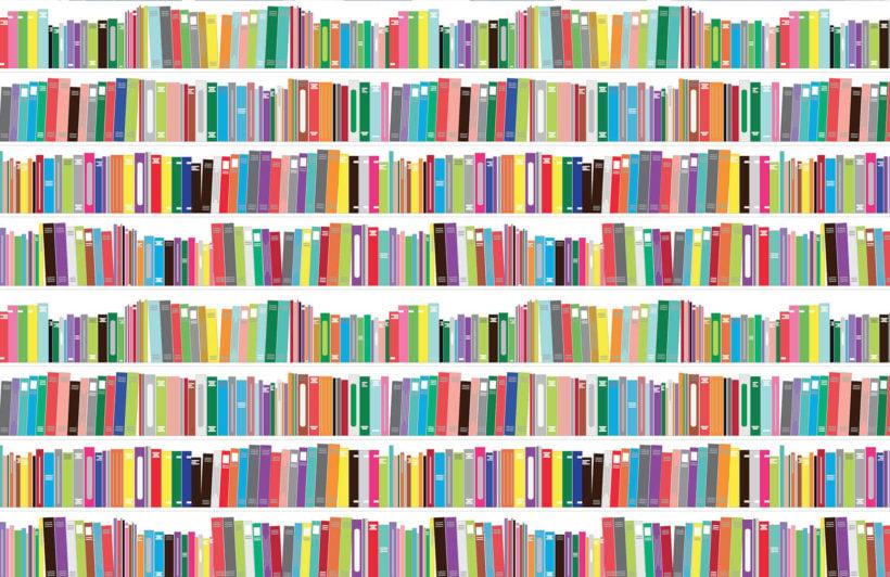 bright-bookcase-design-plain-wall-murals