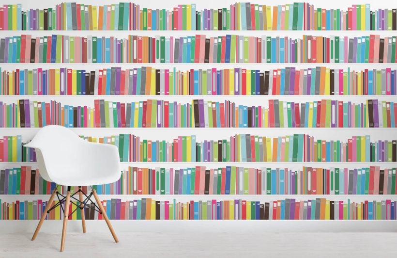 bright-bookcase-design-room-wall-murals