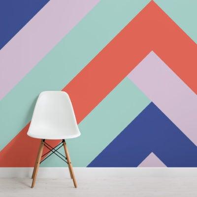 bright colour block geometric wallpaper mural-Square