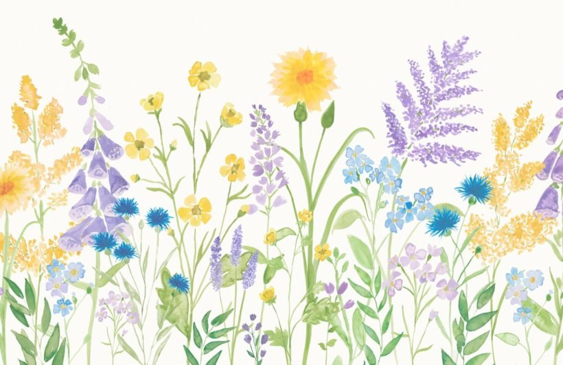 bright-lilac-and-green-watercolour-wildflower-wallpaper-mural