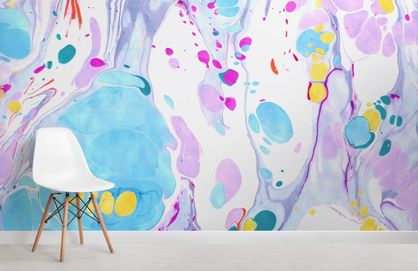 bright pastel marbled wallpaper mural