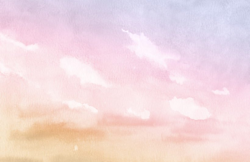 bright pastel watercolour cloud and sky wallpaper mural