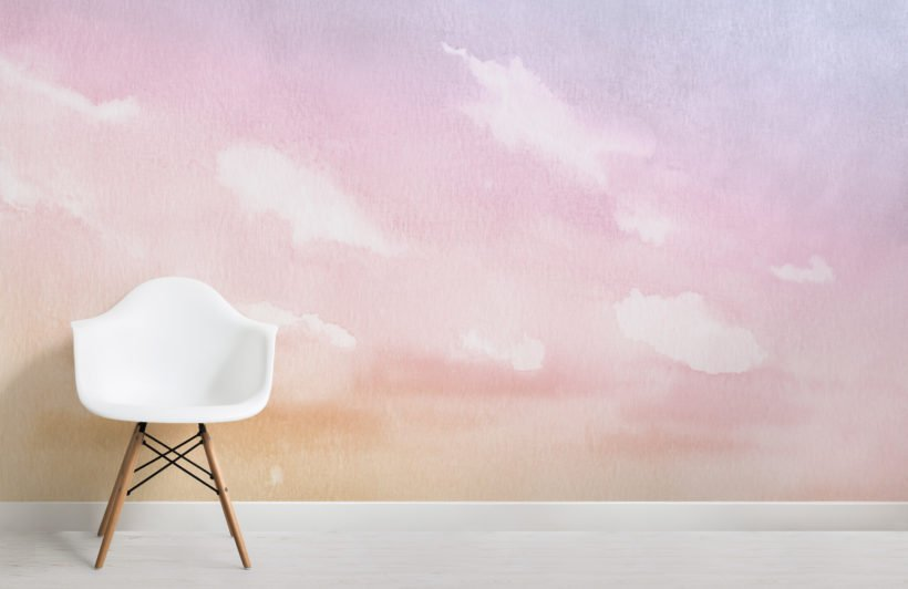 bright pastel watercolour cloud and sky wallpaper mural