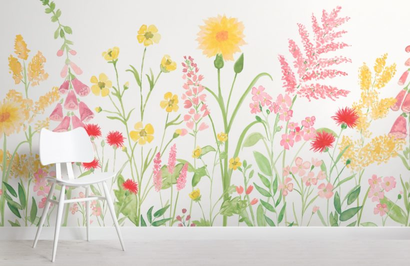 bright pink and green watercolor wildflower wallpaper mural