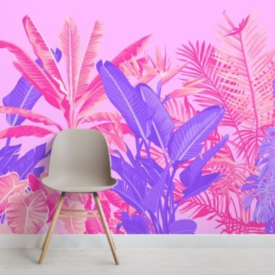 bright pink and purple tropical jungle wallpaper mural