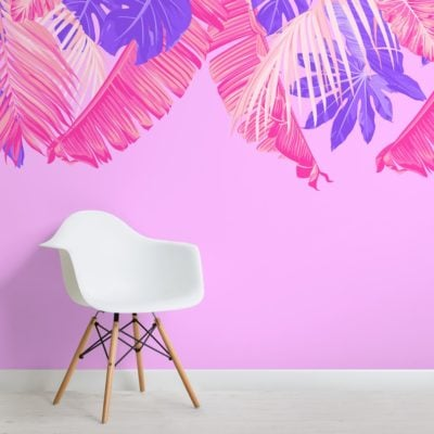 bright pink and purple tropical leaves wallpaper mural