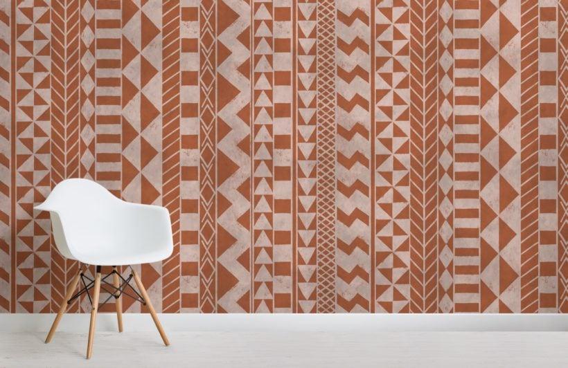 brown african inspired tribal print wallpaper mural