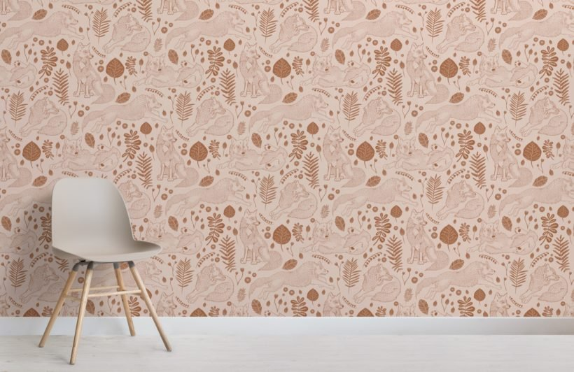brown folk fox repeat pattern wallpaper mural