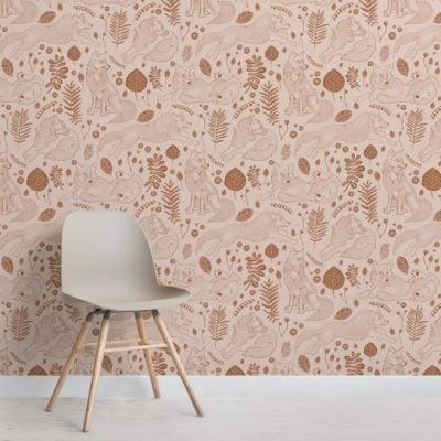 brown folk fox repeat pattern wallpaper mural