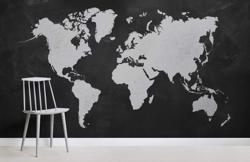Chalk Board World Map Room