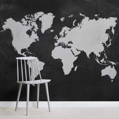 Chalk Board World Map Square