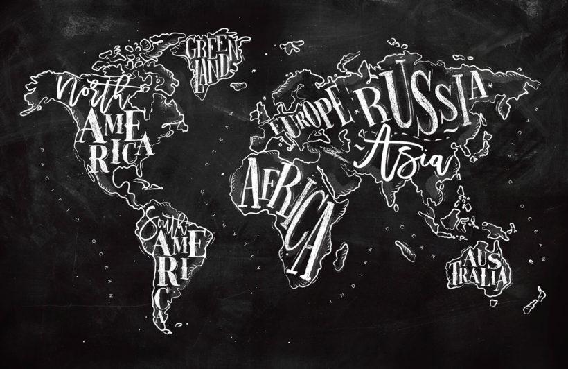 Chalkboard Typography World Map