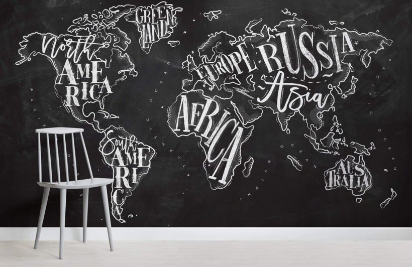 Chalkboard Typography World Map Room