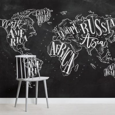 Chalkboard Typography World Map Square