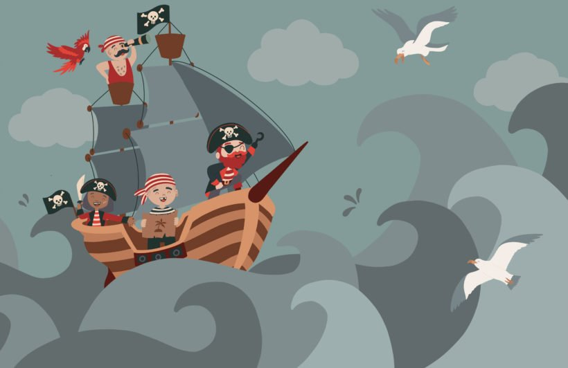 children's illustrated cartoon pirate ship wallpaper mural