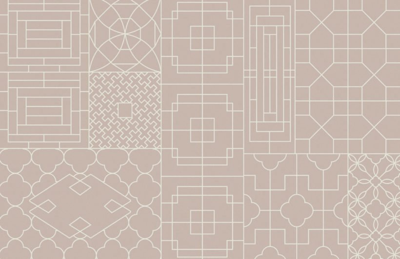 chinese style geometric pink wallpaper mural