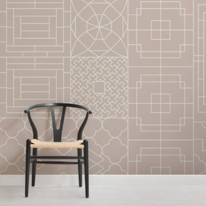 Chinese Style Geometric Pink Wallpaper Mural Image
