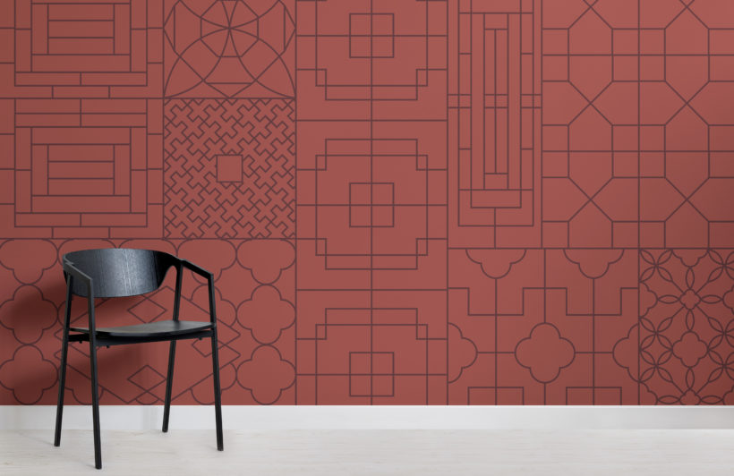 chinese style red geometric wallpaper mural