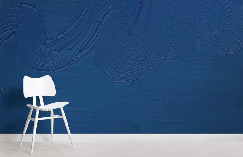 classic blue paint brush stroke texture wallpaper mural